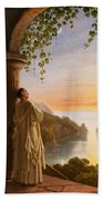 Franz Ludwig Catel  A Monk Meditating In A Cloister Bath Towel