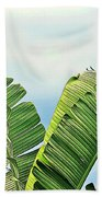 Frayed Palm Fronds Against Blue Sky Bath Towel