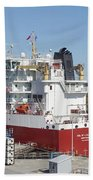 Freighter In Lock Of Saint Lawrence Bath Towel
