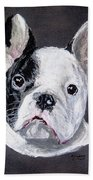 French Bulldog Close Up Bath Towel