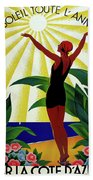 French Riviera, Girl On The Beach, France Bath Towel