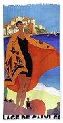 French Riviera, Woman On The Beach, Paris, Lyon, Mediterranean Railway Hand Towel