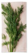 Fresh Green Dill On Wooden Plank Bath Towel