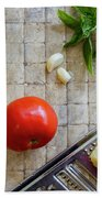 Fresh Italian Cooking Ingredients On Tile Bath Towel