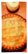 Freshly Baked Pie Surrounded By Apples On Table Bath Towel