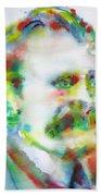Friedrich Nietzsche - Watercolor Portrait.10 Bath Towel
