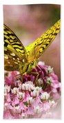 Fritillary Butterfly On Flowers Bath Towel
