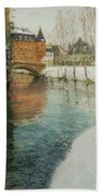 Frits Thaulow    A Chateau In Normandy Bath Towel