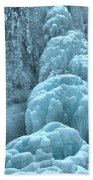 Frozen Falls Along The Icefields Parkway Bath Towel