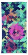 Fruity Rose   Fancy Colorful Abstraction Pattern Design  Green Pink Blue  Bath Towel