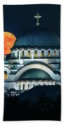 Full Blood Moon Over The Magnificent St. Sava Temple In Belgrade Bath Towel
