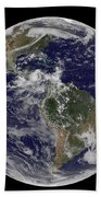 Full Earth Showing North America Hand Towel