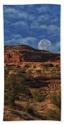Full Moon Over Red Cliffs Bath Towel
