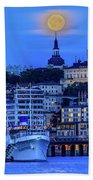 Full Moon Over The Katarina Church And Sodermalm In Stockholm Bath Towel
