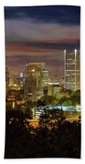 Full Moon Rising Over Downtown Portland Hand Towel