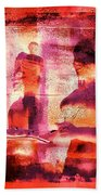 Funky Abstract Square Welcome Couple Red Pink Purple Lake City 1a Hand Towel