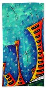 Funky Town Original Madart Painting Hand Towel
