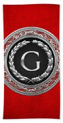 G - Silver Vintage Monogram On Red Leather Bath Towel