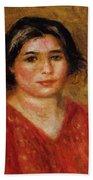 Gabrielle In A Red Blouse 1913 Bath Towel