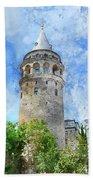Galata Tower In Istanbul Tukey Bath Towel