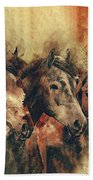 Galloping Wild Mustang Horses Bath Towel