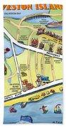 Galveston Texas Cartoon Map Bath Towel