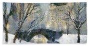 Gapstow Bridge In Snow Hand Towel