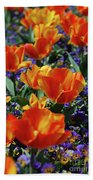 Garden With Blooming Yellow And Red Tulip Blossoms Bath Towel