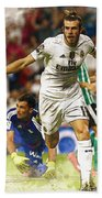 Gareth Bale Celebrates His Goal  Bath Towel