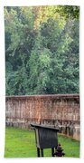 Gate And Brick Wall At Shiloh Cemetery Hand Towel