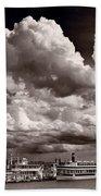 Gathering Clouds Over Lake Geneva Bw Bath Towel
