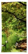 Geese By Pond In Autumn Bath Towel