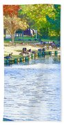 Geese In Pond 3 Bath Towel