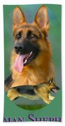 German Shepherd With Name Logo Bath Towel