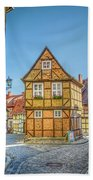 Germany - Half-timbered Houses And Alleys In Quedlinburg Bath Towel