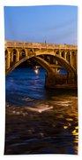 Gervais Street Bridge At Twilight Bath Towel