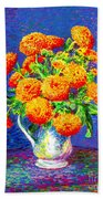 Gift Of Gold, Orange Flowers Hand Towel