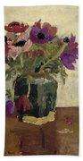 Ginger Pot With Anemones, George Hendrik Breitner, Ca. 1900 - Ca. 1923 Bath Towel