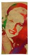 Ginger Rogers Watercolor Portrait Bath Towel