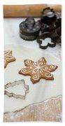 Gingerbread Making - Christmas Preparing With Vintage Kitchen Tools Bath Towel