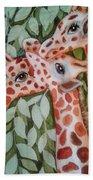 Giraffe Trio By Christine Lites Hand Towel by Allen Sheffield