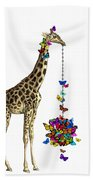 Giraffe With Colorful Rainbow Butterflies Bath Towel