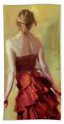 Girl In A Copper Dress I Bath Towel