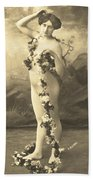 Girl In Body Stocking Holding Garland Of Flowers Bath Towel
