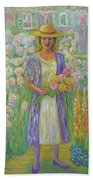 Girl In Monet's Garden At Giverny Bath Towel