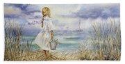 Girl And Ocean Watercolor Hand Towel