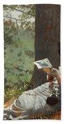 Girl Reading Under An Oak Tree Bath Towel