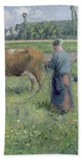 Girl Tending A Cow In Pasture Bath Towel
