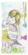 Girl With A Toy-fish Bath Towel