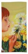Girl With Flower Bath Towel